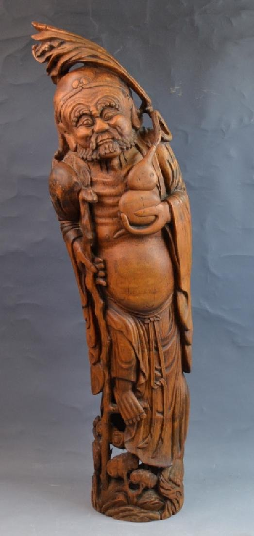 Chinese Bamboo Carved Figure of luohan