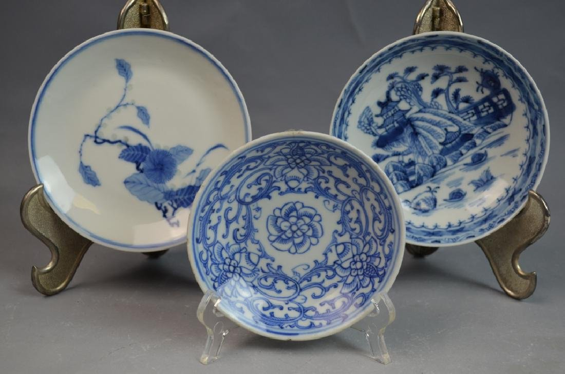 Chinese 3 Pieces Blue and White Porcelain Plates