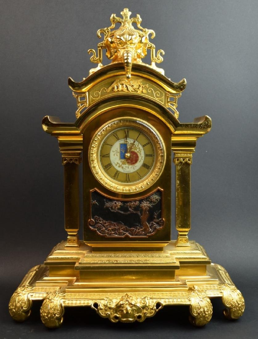One Bronze Clock with Chinese Design