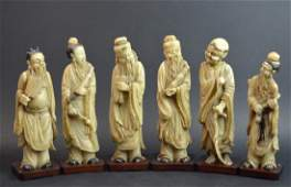 6 Chinese Soapstone Carved Immortals on Wood Stand
