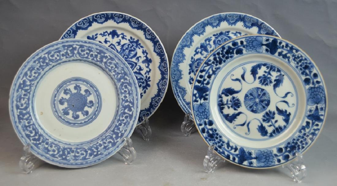 18th C. 4 Chinese Blue and White Porcelain Plates