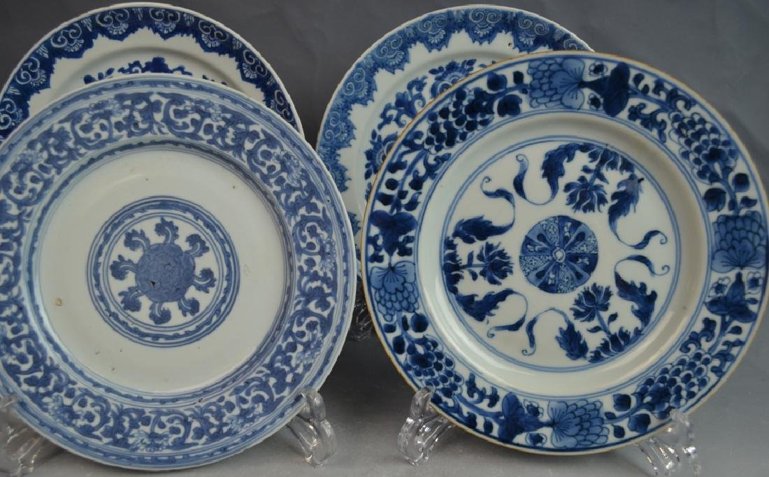18th C. 4 Chinese Blue and White Porcelain Plates - 2