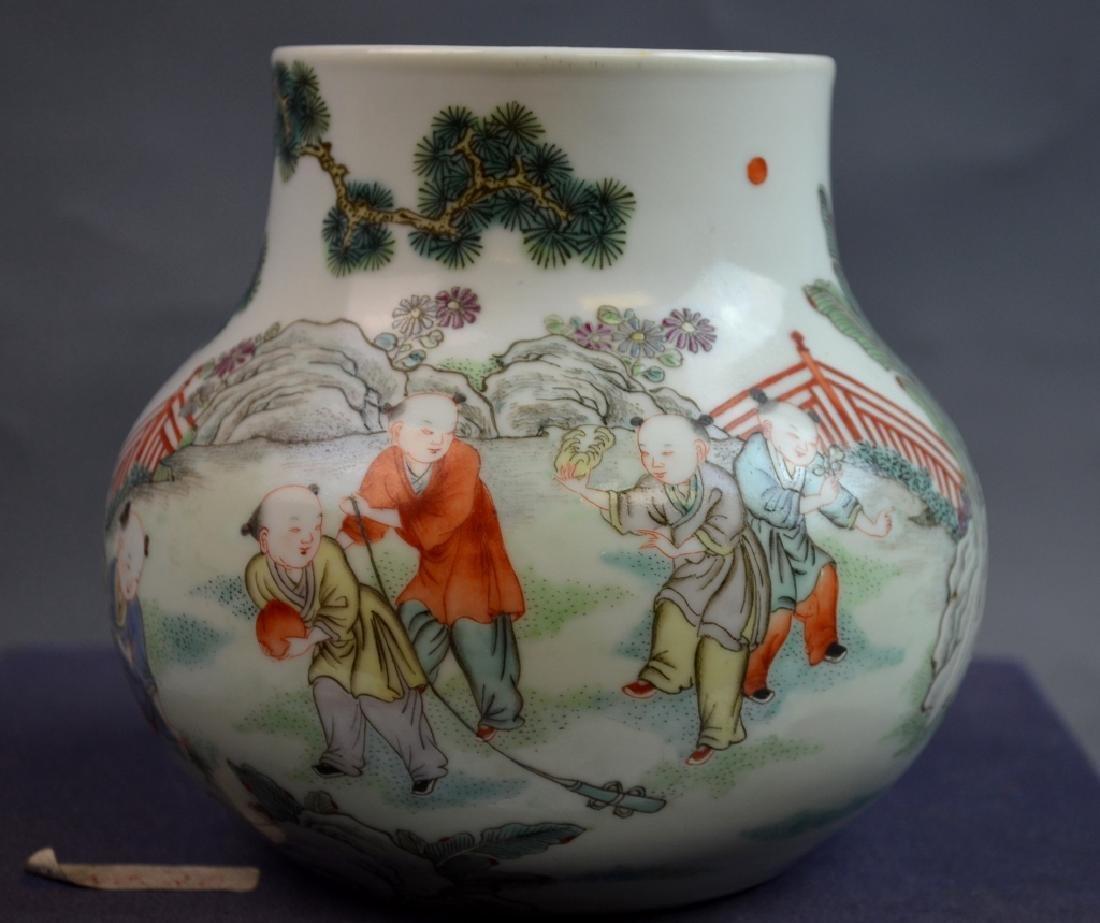 19th C. Chinese Famile Rose Porcelain Zun Vase