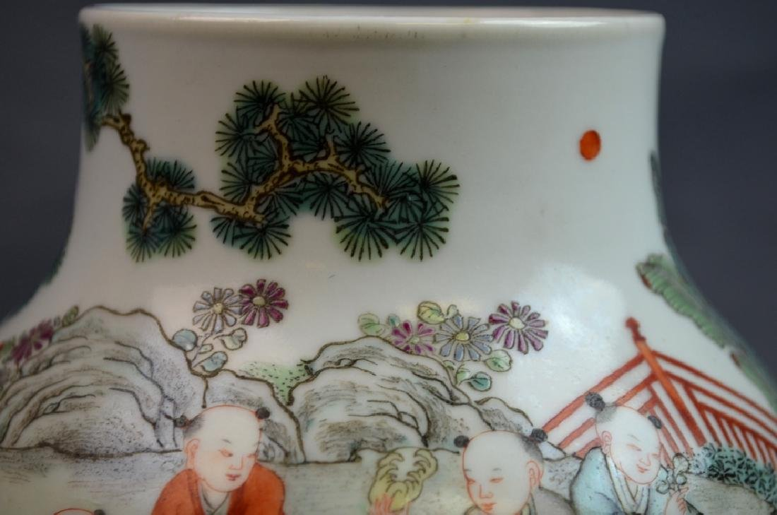 19th C. Chinese Famile Rose Porcelain Zun Vase - 3