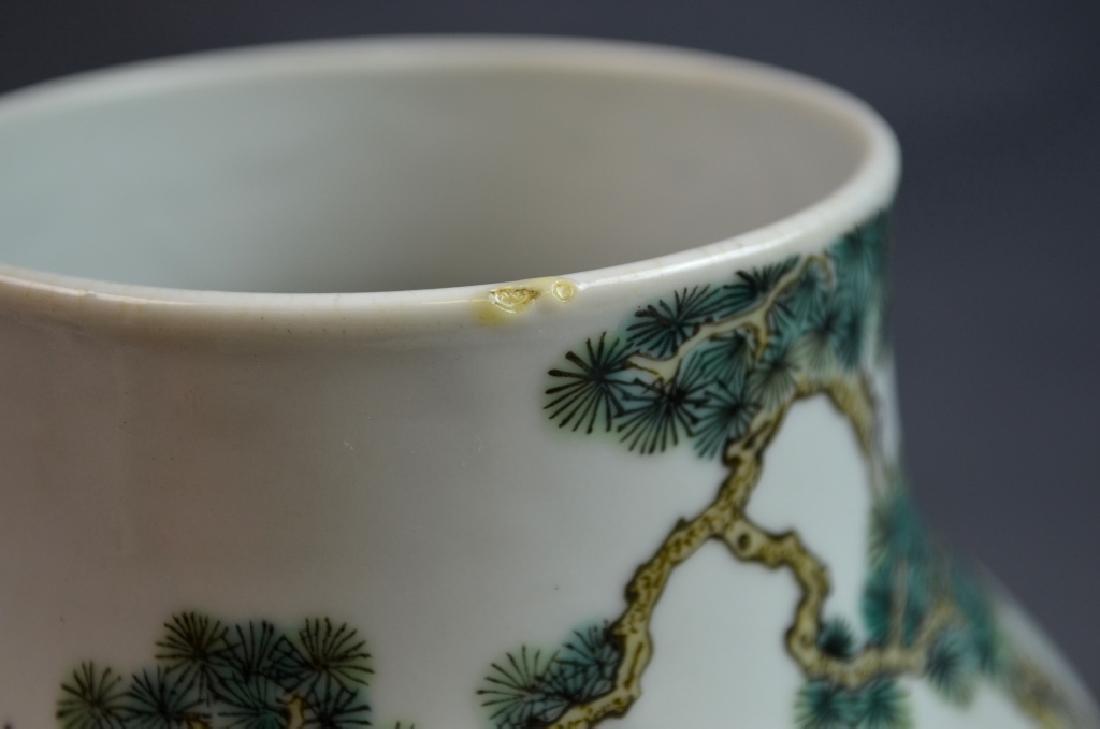 19th C. Chinese Famile Rose Porcelain Zun Vase - 6
