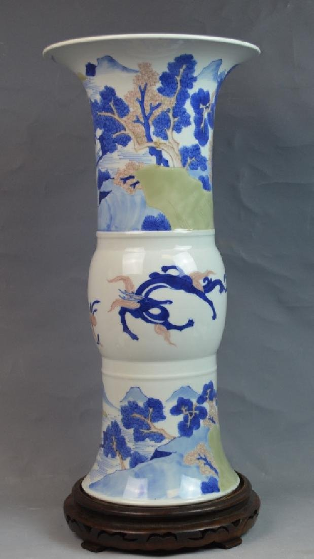 Chinese Celadon Ground Blue & White Porcelain Vase