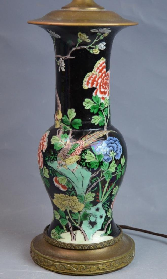 Chinese Famille Noire Porcelain Vase Lamp