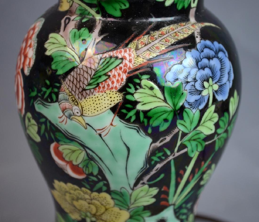 Chinese Famille Noire Porcelain Vase Lamp - 3