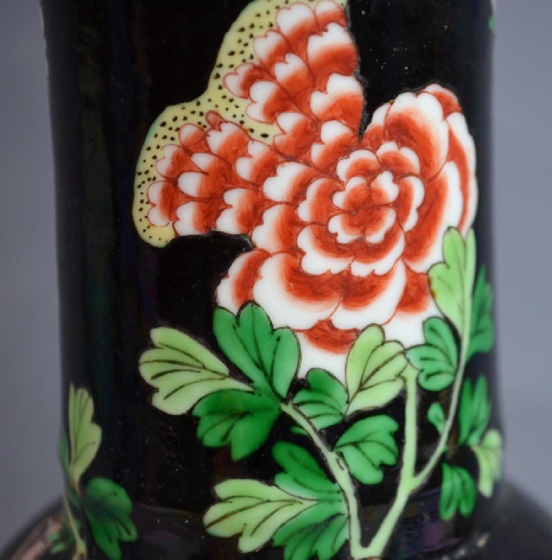 Chinese Famille Noire Porcelain Vase Lamp - 4