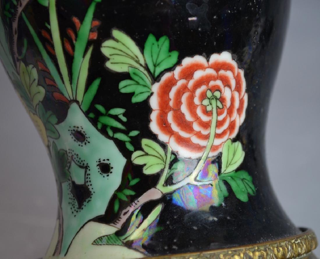 Chinese Famille Noire Porcelain Vase Lamp - 5