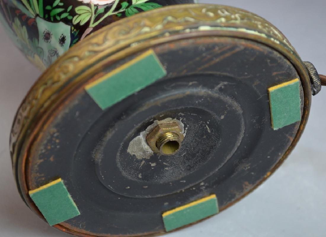 Chinese Famille Noire Porcelain Vase Lamp - 7