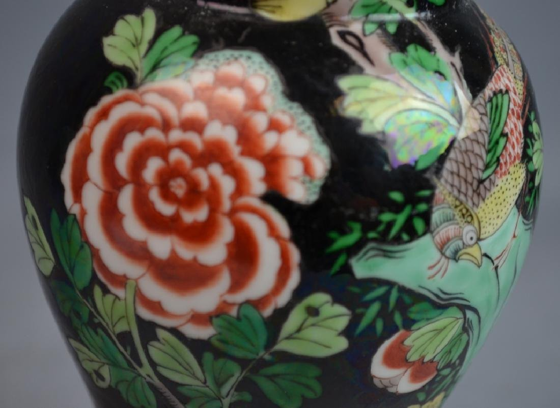 Chinese Famille Noire Porcelain Vase Lamp - 8