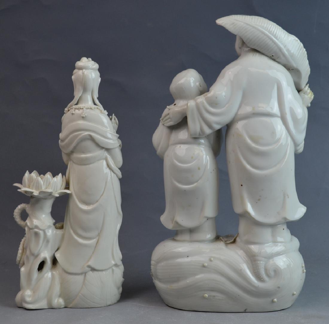 2 pcs 19th C. Blanc De Chine Porcelain Figures - 10