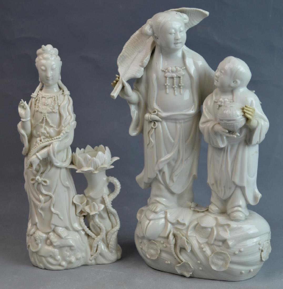 2 pcs 19th C. Blanc De Chine Porcelain Figures