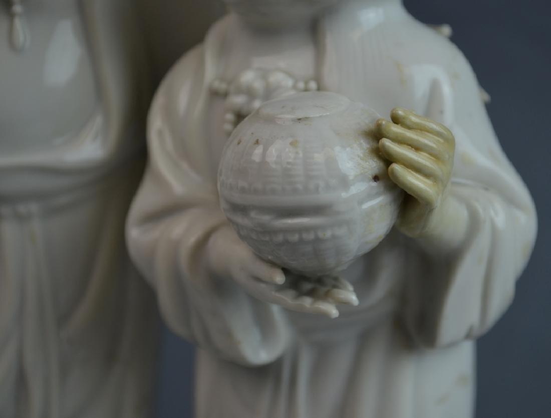 2 pcs 19th C. Blanc De Chine Porcelain Figures - 3