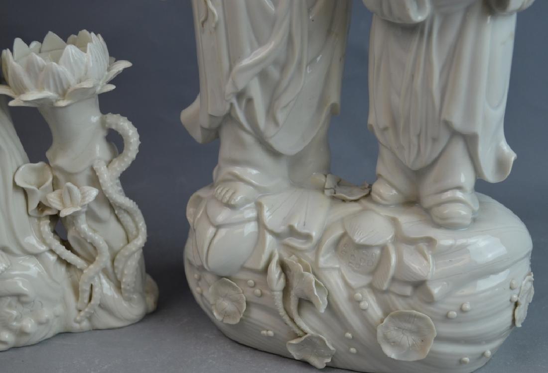 2 pcs 19th C. Blanc De Chine Porcelain Figures - 4