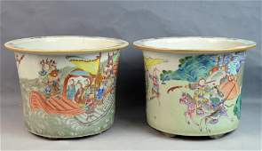 Pr of Chinese Famille Rose Porcelain Planters