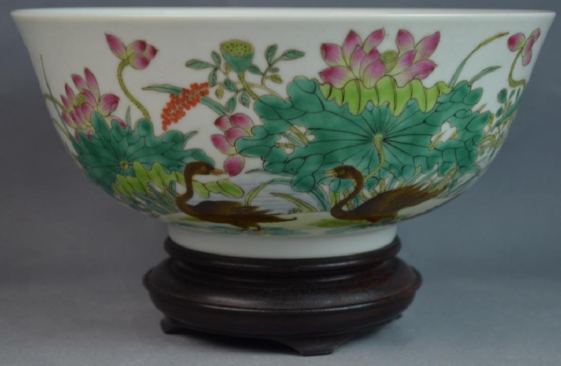 Chinese Famille Rose Duck Porcelain Bowl w/ Mark