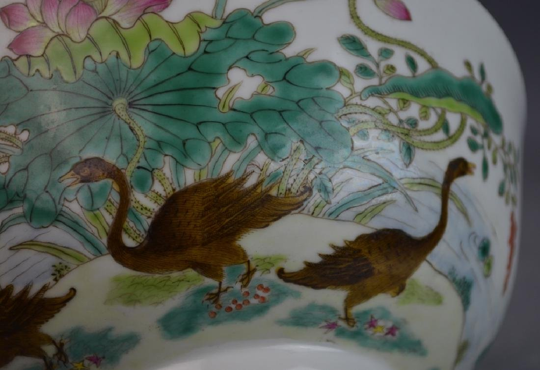 Chinese Famille Rose Duck Porcelain Bowl w/ Mark - 2