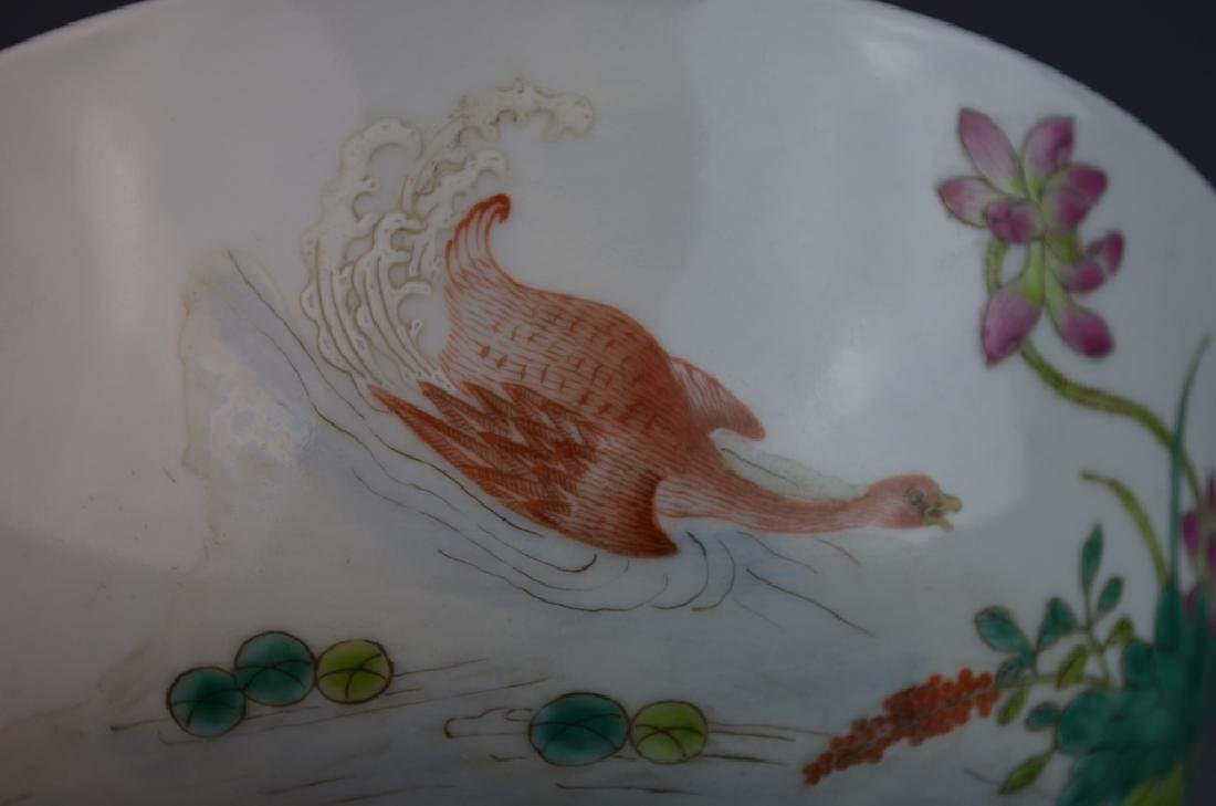 Chinese Famille Rose Duck Porcelain Bowl w/ Mark - 3