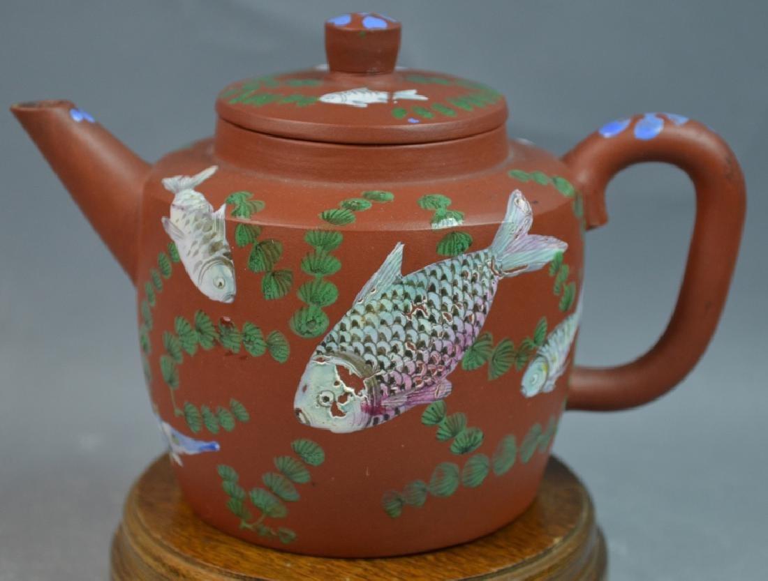 Chinese Fish-Painted Yi Xing Teapot w/ mark
