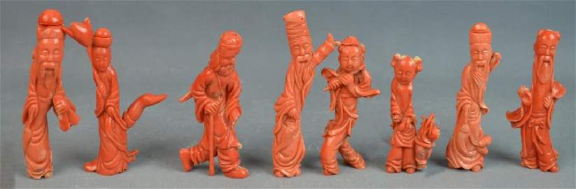 8 Immortals Chinese Carved Coral Figures