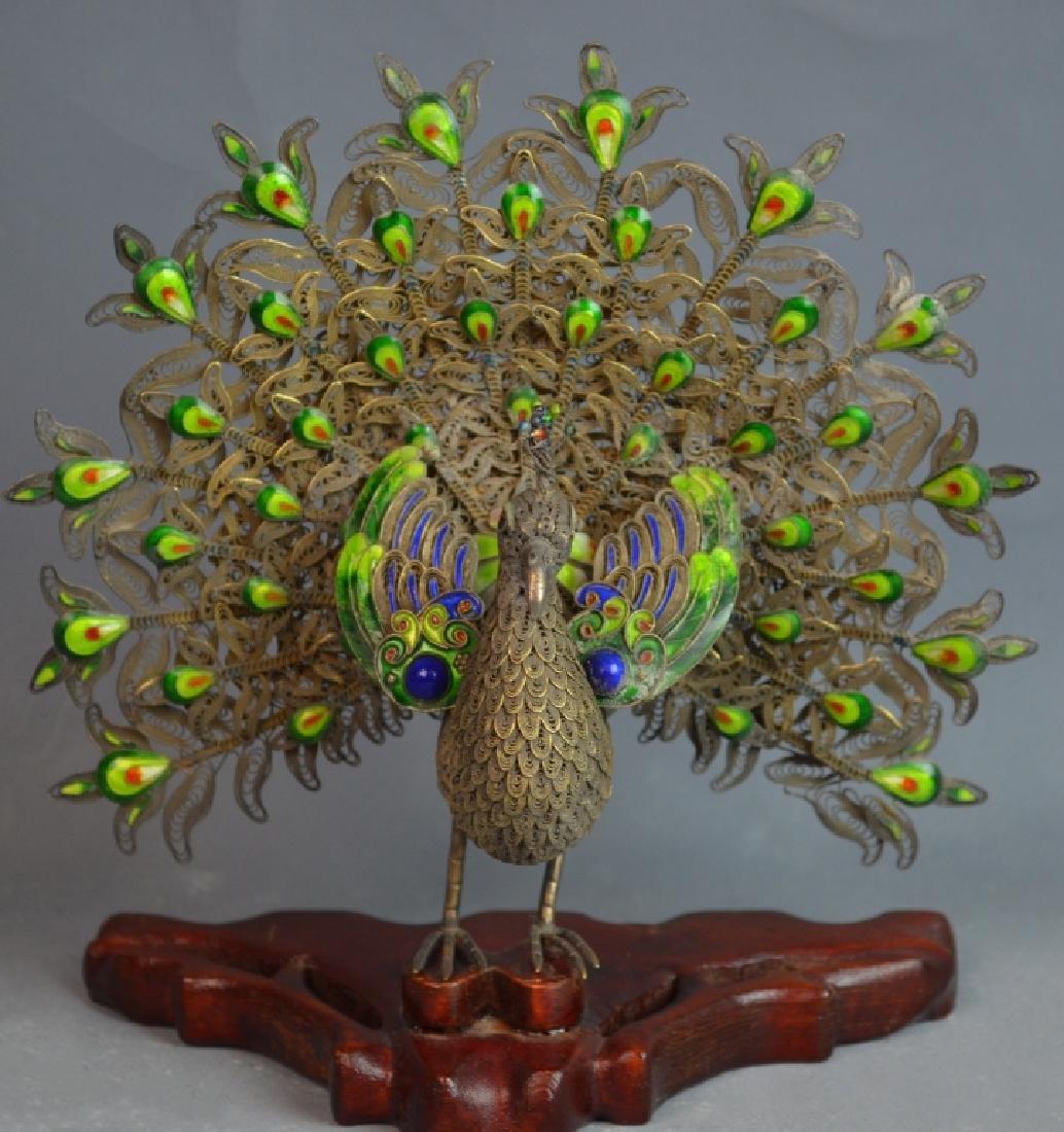 Chinese Jade Inlaid Metal Phoenix
