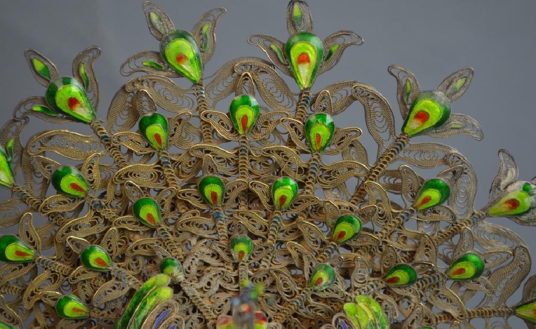 Chinese Jade Inlaid Metal Phoenix - 2