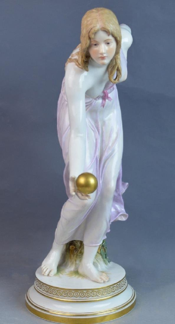 Large Meissen Porcelain Woman Ball Thrower