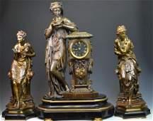 Set of 3 Pierre Bronze Classical Figures Clock Set
