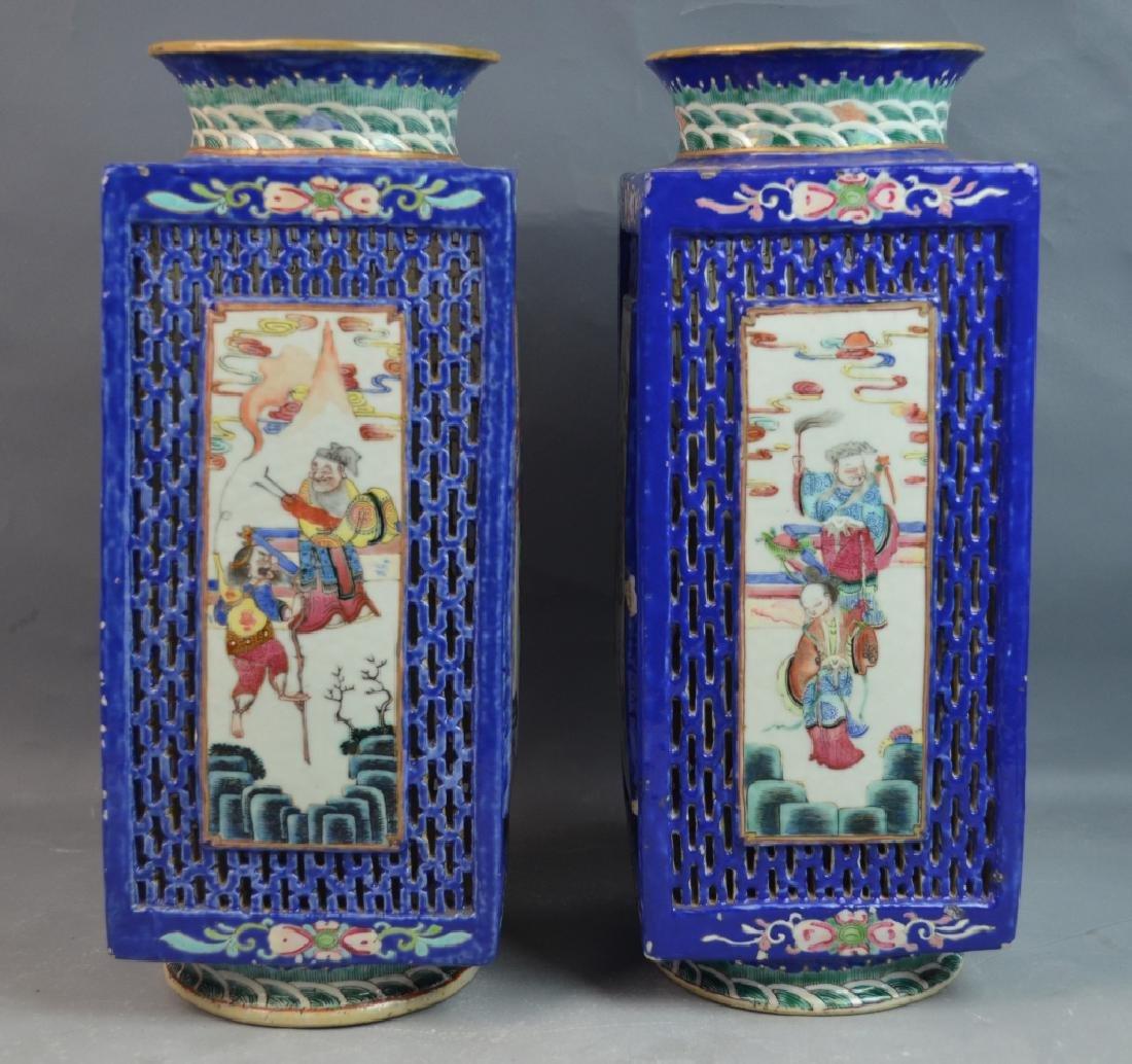 Pr Chinese Famille Rose Porcelain Square Vases