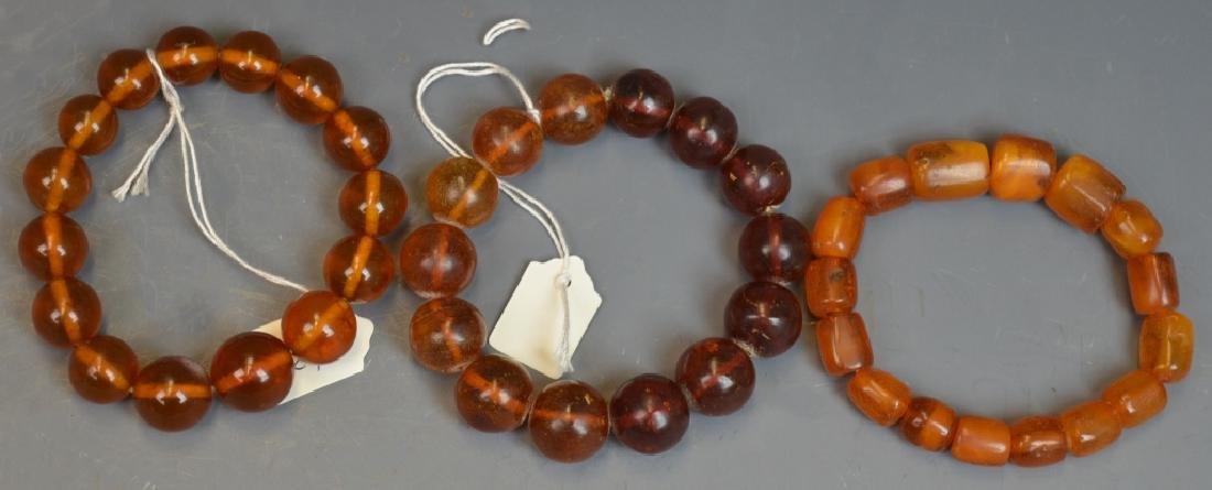 3 Chinese Amber Bead Bracelets