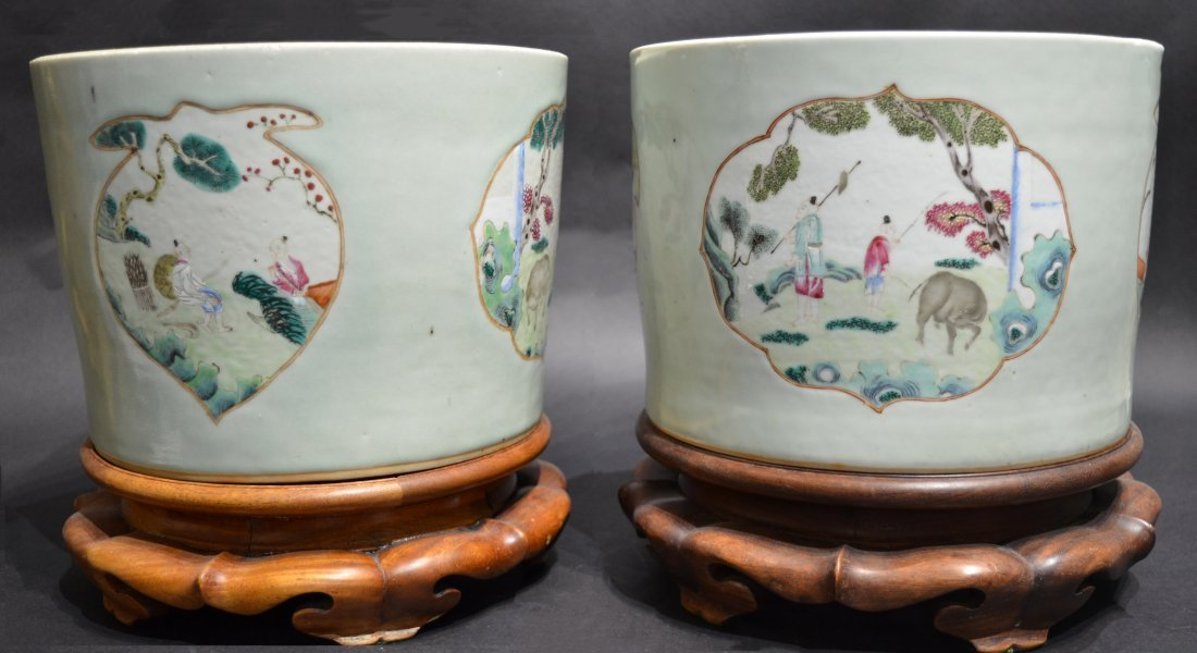 Pair Large Chinese Porcelain Planters on Wood Stands
