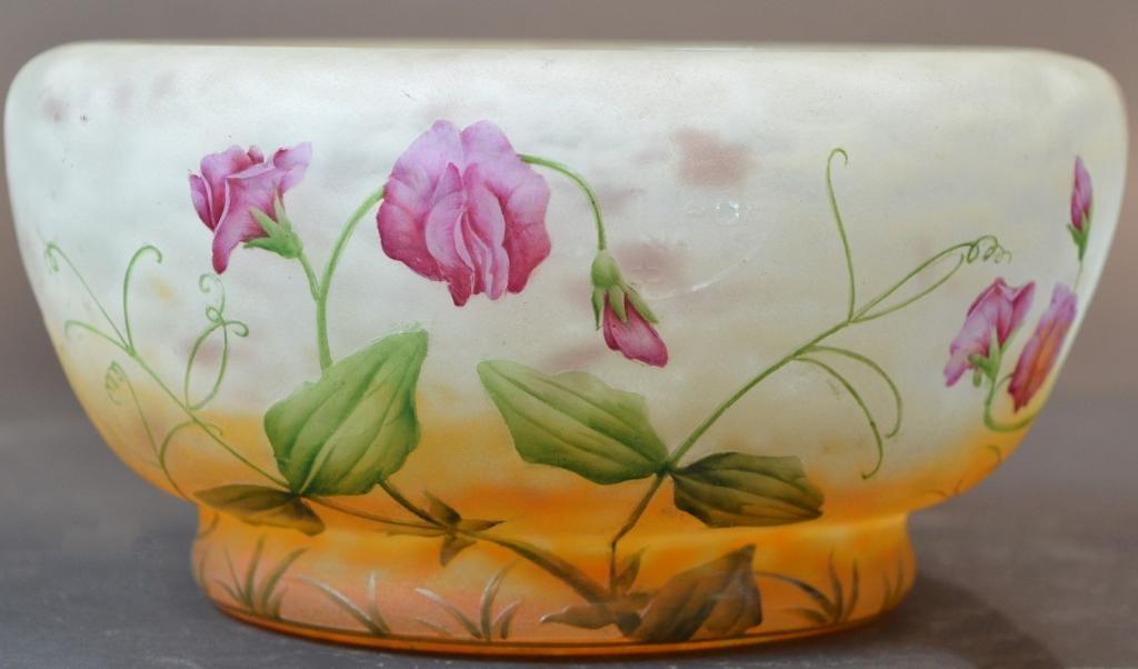 Large Daum Nancy Cameo Art Glass Bowl