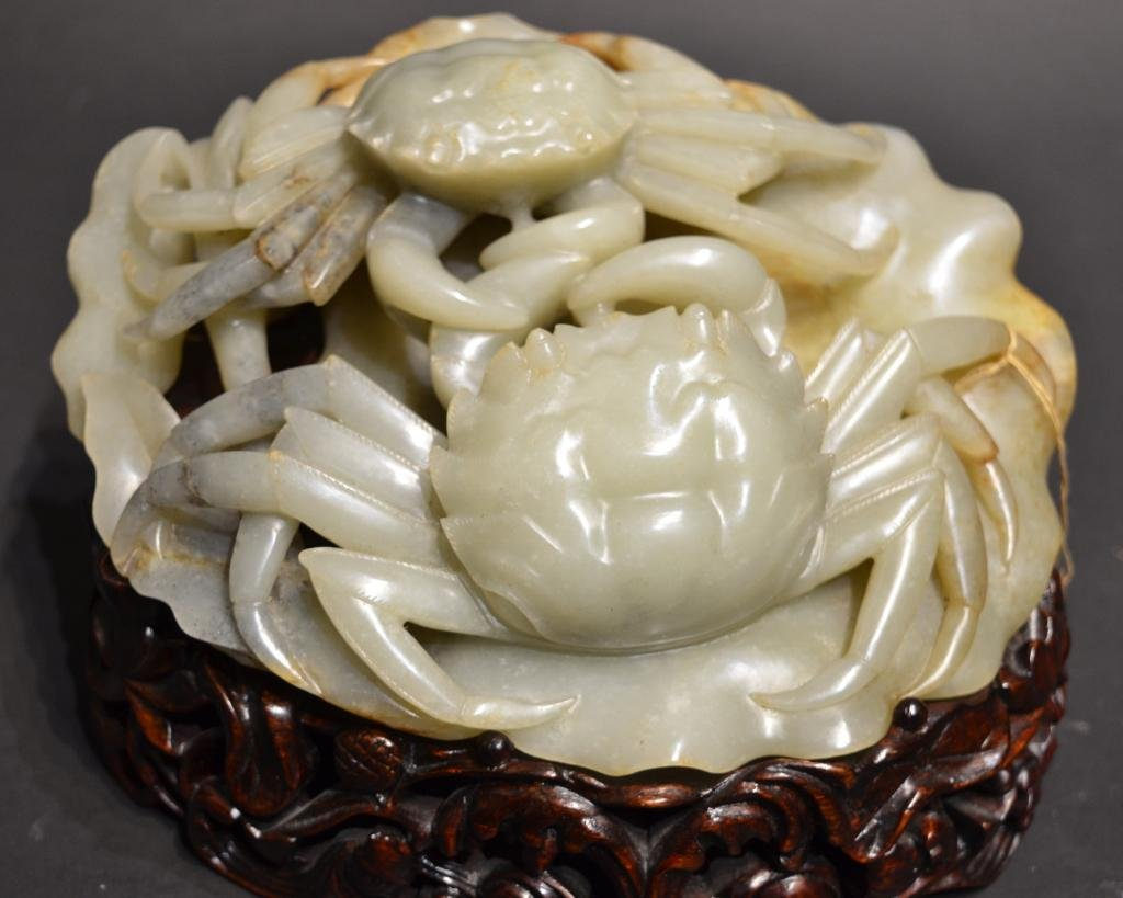 Carved Jade Crabs