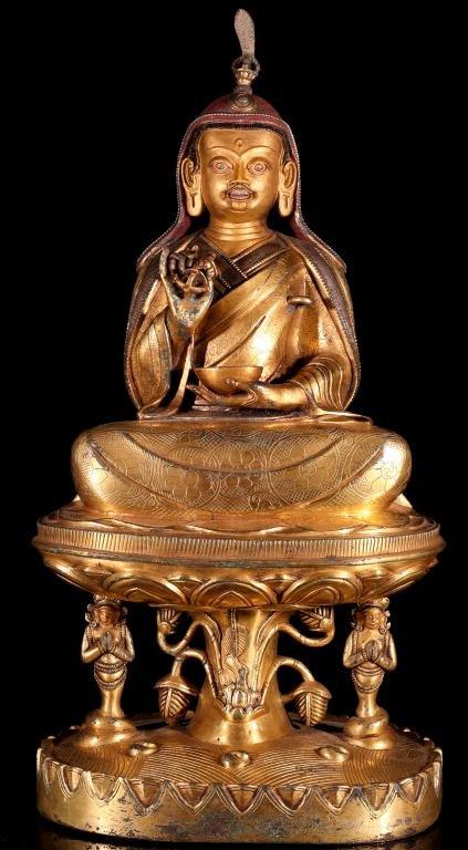 A Large Chinese Gilt Bronze Buddha