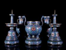 A Chinese Cloisonne Enamel 5pc. Altar Set