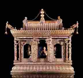Rare Chinese Gilt Bronze Pagoda Form Shrine