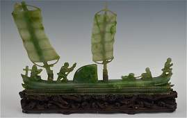 Chinese Carved Jadeite Boat