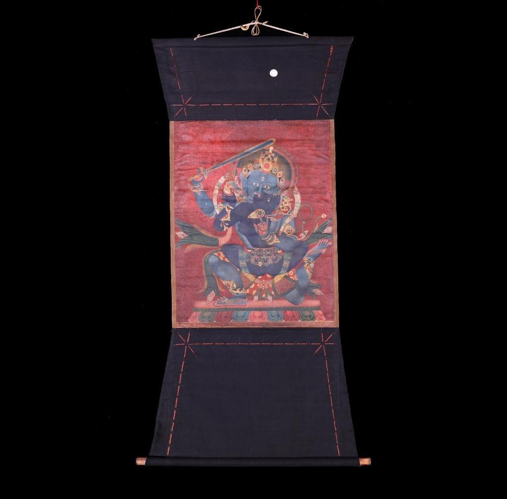 A Chinese Tibetan Thangka Painting Scroll