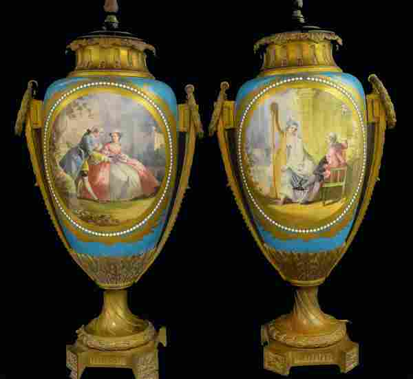 Large Pair of Sevres Porcelain Vases as Lamps