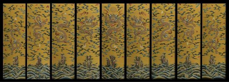 Chinese Kesi Silk Tibetan Nine Panel Screen