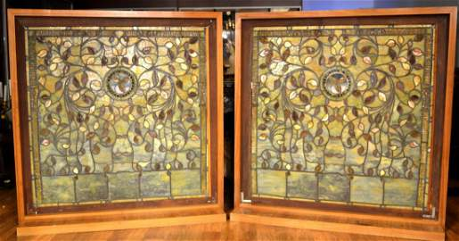 Magnificent Pair Tiffany Stained Glass Floral Windows