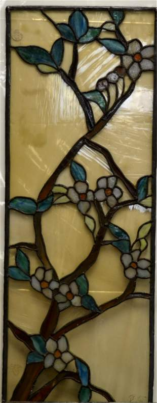 A Leaded & Stained Glass Tiffany Window
