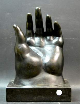 """After Fernando Botero, """"The Big Hand"""" in Bronze"""