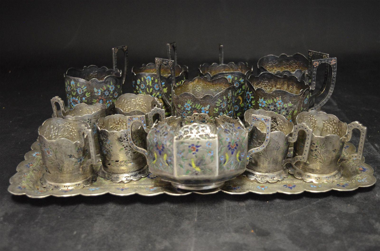 An Extensive Silver & Enamel Tea Set, Iran