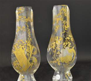 A Pair of Japonisme Baccarat Gilt Glass Vases