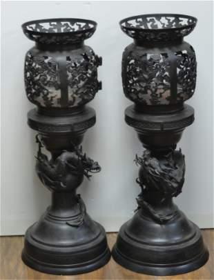 A Pair of Large Japansese Bronze Lanterns