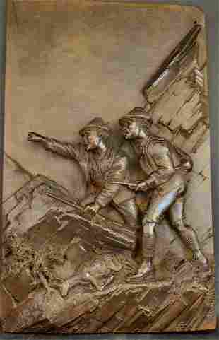 A Fine Carved Wood Hunting Scene Plaque