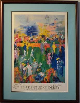 """Leroy Neiman. """"Derby Day Paddock"""" Signed Poster"""